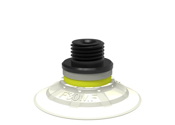 "Suction cup F30MF Thermoelastic polyurethane, G1/8"" male/M5 female, with mesh filter"