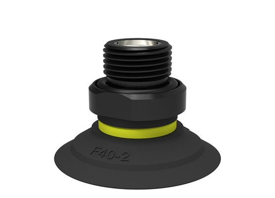 "Suction cup F40-2 Nitrile-PVC, G3/8"" male, with mesh filter and dual flow control valve"