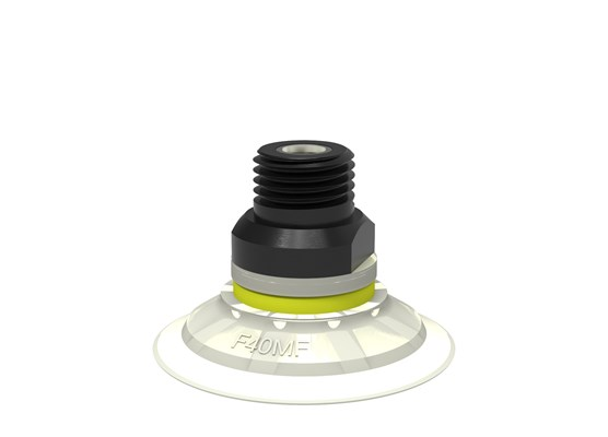 "Suction cup F40MF Thermoelastic polyurethane, 1/4"" NPT male, with dual flow control valve"