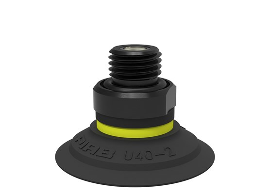 "Suction cup U40-2 Nitrile-PVC, G1/4"" male, with mesh filter and dual flow control valve"