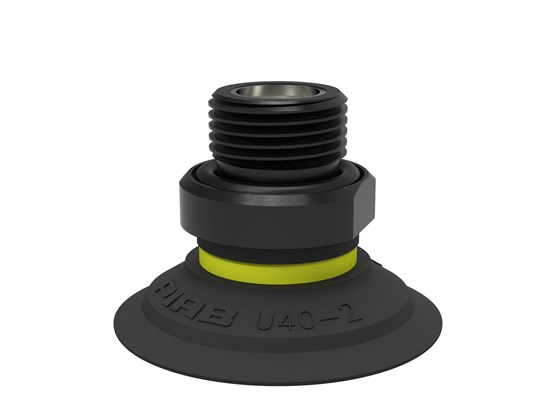 "Suction cup U40-2 Nitrile-PVC, G3/8"" male, with dual flow control valve"