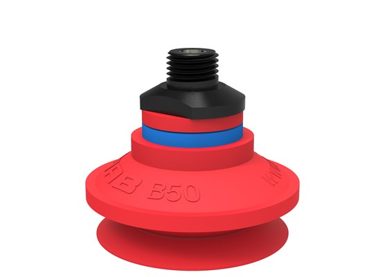"Suction cup B50 Silicone, 1/4"" NPT male, with dual flow control valve"
