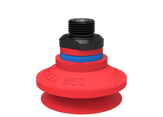 "Suction cup B50 Silicone, G3/8"" male, with mesh filter and dual flow control valve"