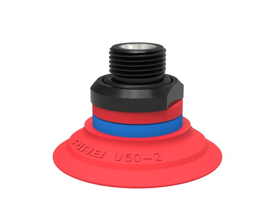 "Suction cup U50-2 Silicone, G3/8"" male, with mesh filter and dual flow control valve"