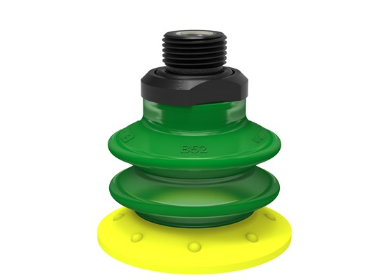 "Suction cup BX52P Polyurethane 30/60 with filter, G3/8"" male, with dual flow control valve"