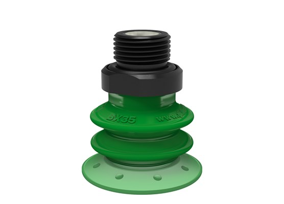 "Suction cup BX35P Polyurethane 60 with filter, G3/8"" male, with mesh filter and dual flow control valve"