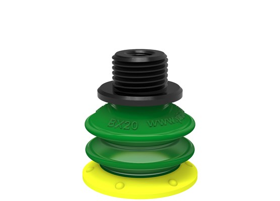 "Suction cup BX20P Polyurethane 30/60, G1/8"" male / M5 female, with dual flow control valve"