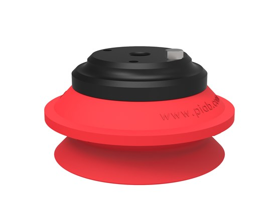 "Suction cup B75-2 Silicone, 1/4"" NPT female Al, with mesh filter & 10-32 addl. conn."