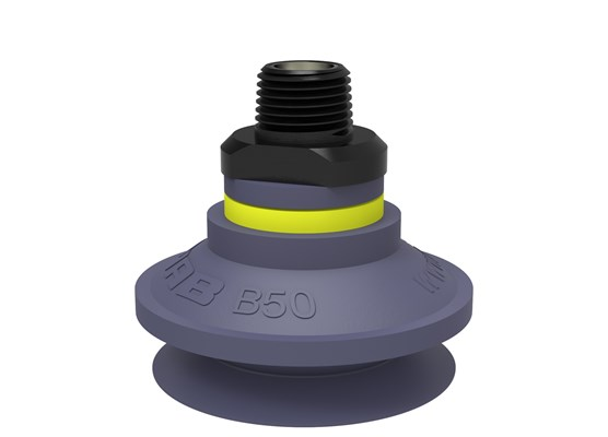 "Suction cup B50 HNBR, NPT3/8"" male, with dual flow control valve"