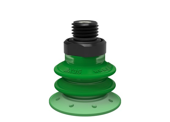 "Suction cup BX35P Polyurethane 60 with filter, G1/4"" male, with dual flow control valve"