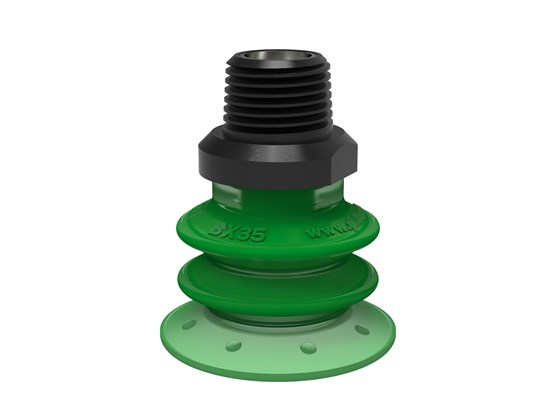 "Suction cup BX35P Polyurethane 60 with filter, 3/8"" NPT male, with dual flow control valve"