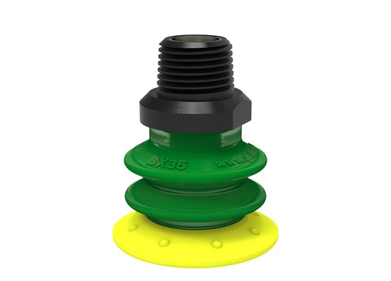 "Suction cup BX35P Polyurethane 30/60 with filter, 3/8"" NPT male, with dual flow control valve"